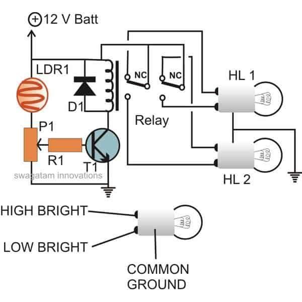 Awtomatikong Sasakyan Headlight Dipper / Dimmer Circuit