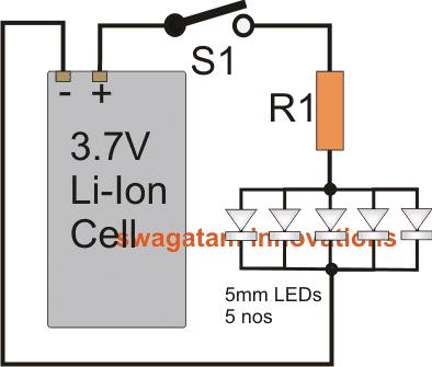 كيفية توصيل 5mm LEDs بخلية Li-Ion 3.7V